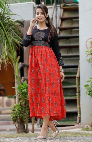 Red and Black Color Rayon Women's Stitched Straight Kurti  - Sparow_107