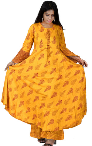 Yellow Color Cotton Women's Stitched Straight Kurti with Palazzo - Sparow_108