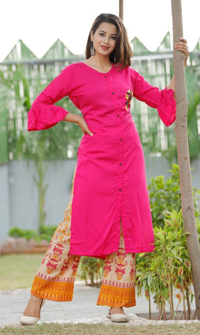 Pink Color Rayon Women's Stitched Straight Kurti with Palazzo - Sparow_109