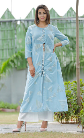 Sky Blue Color Rayon Women's Stitched Straight Kurti with Palazzo - Sparow_110