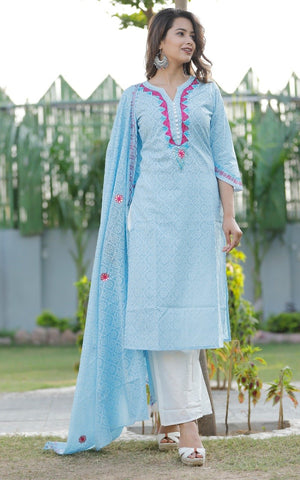 Sky Blue Color Rayon Women's Stitched Straight Kurti with Palazzo - Sparow_113
