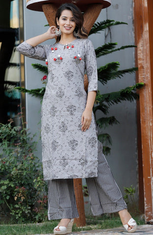 Grey Color Rayon Women's Stitched Straight Kurti with Palazzo - Sparow_114