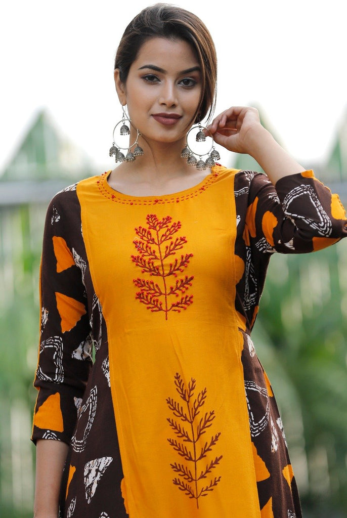 Buy Yellow Color Rayon Women's Stitched Straight Kurti with Palazzo