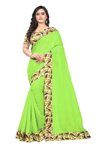 Pista Green And Light Green Color Chanderi Saree - Sparrow-Pista