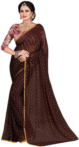 Brown Color Nazneen Saree  - Star-Brown