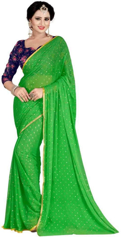 Green Color Nazneen Saree  - Star-Green