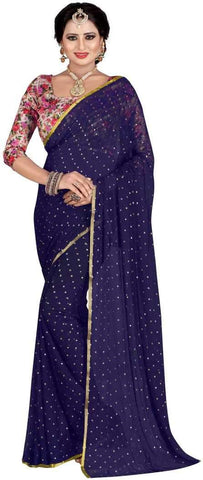 Navy Blue Color Nazneen Saree  - Star-NavyBlue