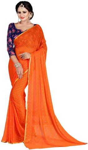 Orange Color Nazneen Saree  - Star-Orange