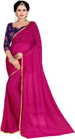 Pink Color Nazneen Saree  - Star-Pink