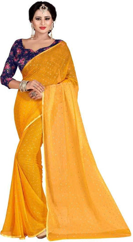 Yellow Color Nazneen Saree  - Star-Yellow