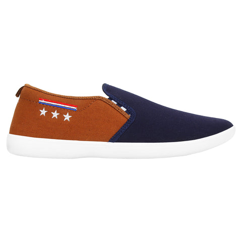 Blue And Brown Color Synthetic Men Shoes - Star3-BlueBrown
