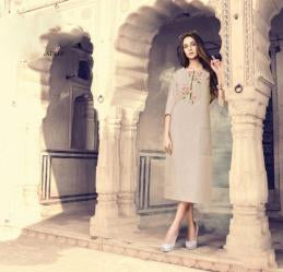 Buy Dusty Cream Color Weaving Checks Stitched Kurti