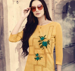 Yellow Color Weaving Checks Stitched Kurti - Stop2-1085