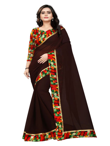 Brown Color Marbel Chiffon Saree - SunShine-Coffee