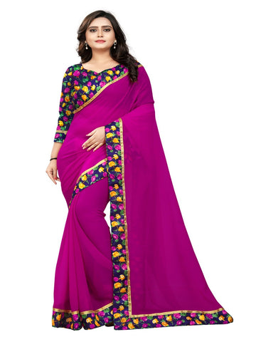Pink Color Marbel Chiffon Saree - SunShine-Pink