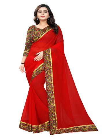 Red Color Marbel Chiffon Saree - SunShine-Red