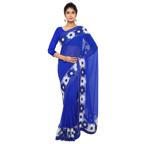 Purple Color Faux Georgette Saree - Sunflower-purple-01