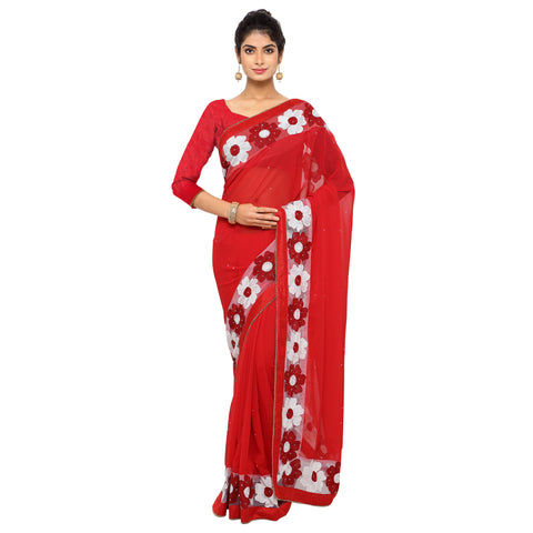 Red Color Faux Georgette Saree - Sunflower-red-01