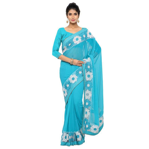 Skyblue Color Faux Georgette Saree - Sunflower-skyblue-01