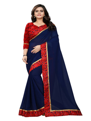 Navy Blue Color Marbel Chiffon Saree - Sunshine-NavyBlue