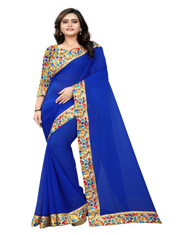 Royal Blue Color Marbel Chiffon Saree - Sunshine-RoyalBlue