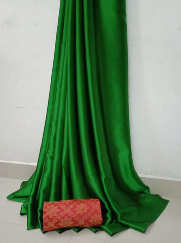 Green Color Soft Super Soft Silk Saree - SuperSatinSilk-03