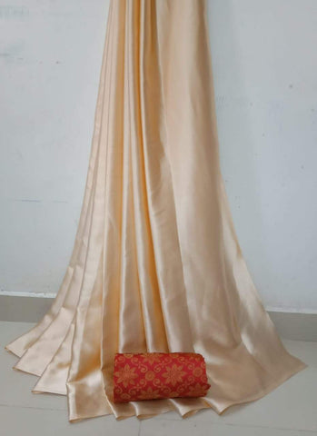 Cream Color Soft Super Soft Silk Saree - SuperSatinSilk-05