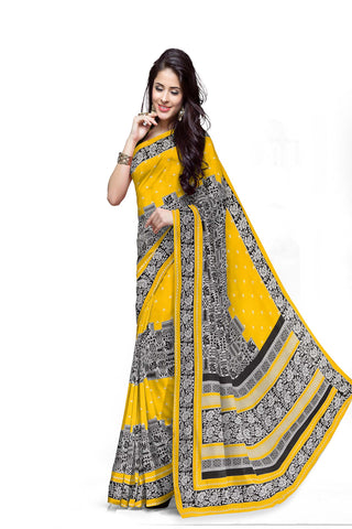 Yellow Color Cotton Printed Saree - SwissCotton-7064-A