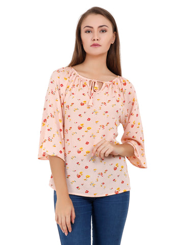 Peach Color Polyester Stitched Top - T002