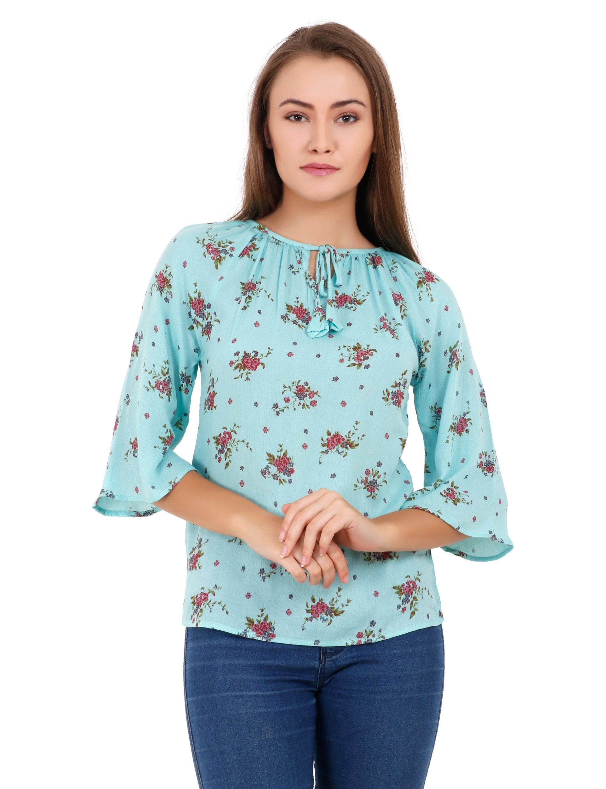 a3d5cfc3d28 Buy Sea Green Color Polyester Stitched Top | Zinnga