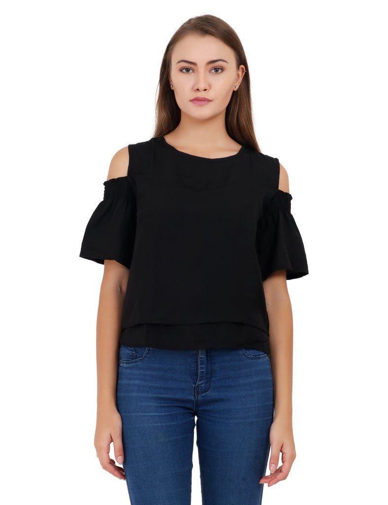 Buy Black Color Creap Stitched Top