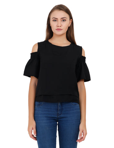 Black Color Creap Stitched Top - T005