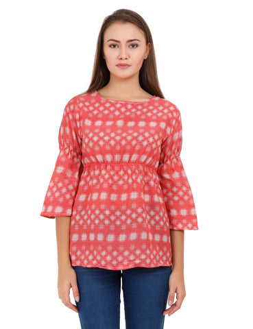 Red Color Cotton Stitched Top - T006