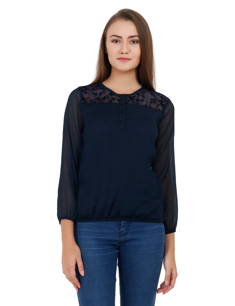Buy Navy Bule Color Polyester Stitched Top