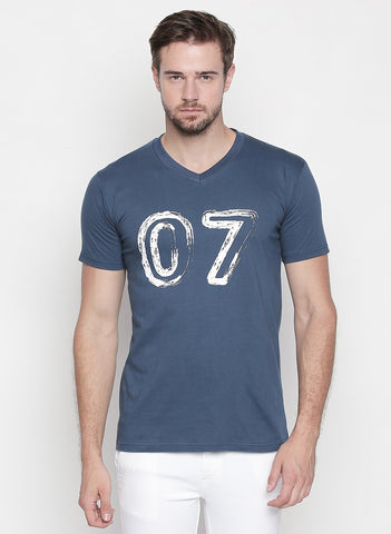 Blue Color Cotton  Men's Tshirt  - T01BHV7