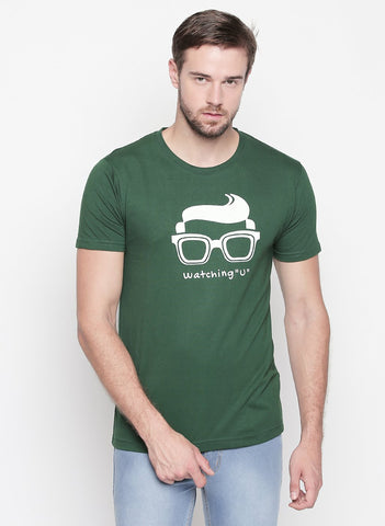 Green Color Cotton  Men's Tshirt  - T01GHRW