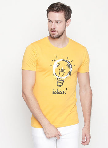Yellow Color Cotton  Men's Tshirt  - T01YHRI