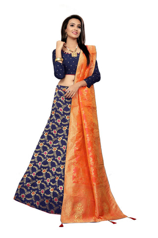 Navy Blue Color Jacquard Women's Semi-Stitched Lehenga Choli - TFJLABLUE