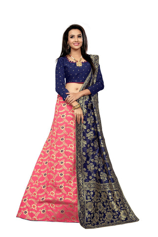 Pink Color Jacquard Women's Semi-Stitched Lehenga Choli - TFJLAPINK