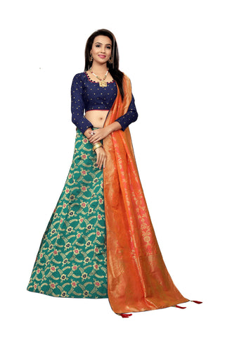 Rama Color Jacquard Women's Semi-Stitched Lehenga Choli - TFJLARAMA