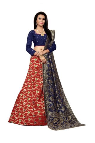 Red Color Jacquard Women's Semi-Stitched Lehenga Choli - TFJLARED