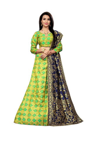 Green Color Jacquard Women's Semi-Stitched Lehenga Choli - TFKVAGREEN