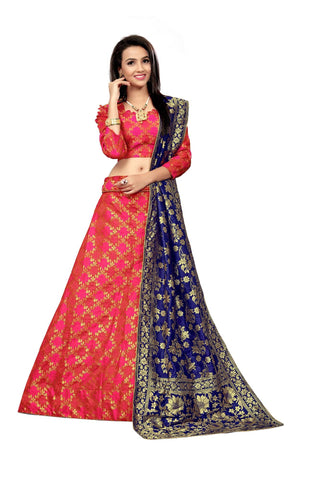 Pink Color Jacquard Women's Semi-Stitched Lehenga Choli - TFKVAPINK
