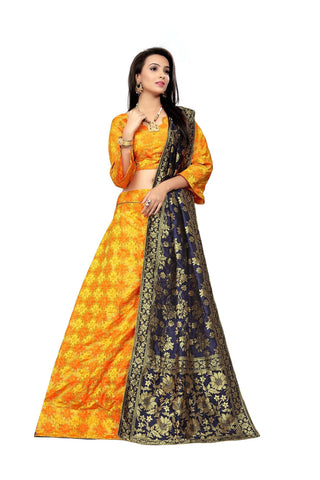 Yellow Color Jacquard Women's Semi-Stitched Lehenga Choli - TFKVAYELLOW