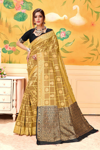 Beige Color Jequard Women's Saree - TFMKABEIGE