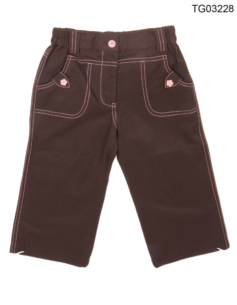 YOUNG BIRDS-BEAUTIFUL  BROWN COLOUR 3/4 CAPRI PANT FOR GIRLS - TG03228