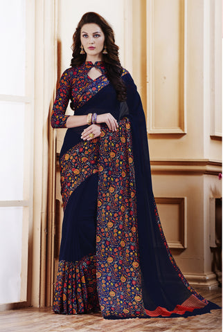 Dark Blue Color Georgette With Satin Patta Saree - TGRC18003