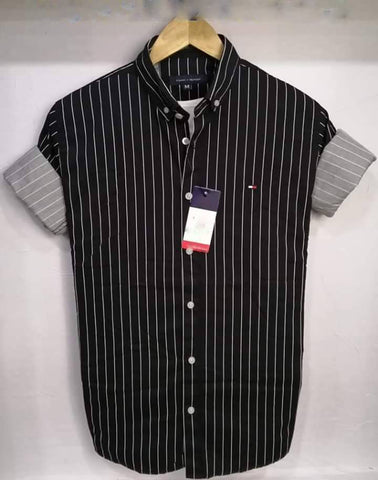 Black Color Pure Cotton Men's Stripes Shirt - THS-1