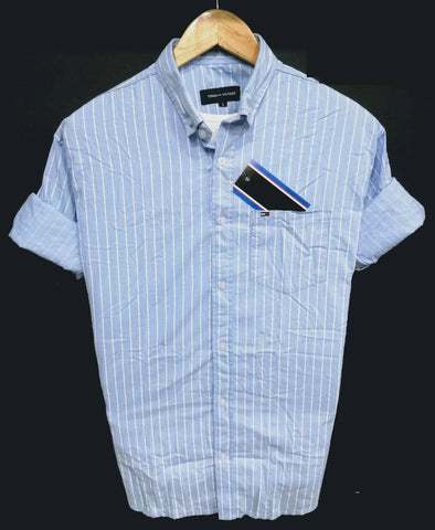 Sky Blue Color Pure Cotton Men's Stripes Shirt - THS-2