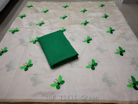 White Color Silk Saree - TITALI GREEN